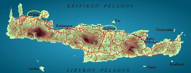 Mapka ostrova Kréta
